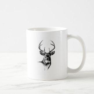 Antique stag art drawing handmade nature coffee mug