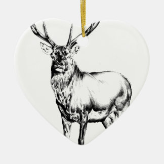 Antique stag art drawing handmade nature Double-Sided heart ceramic christmas ornament