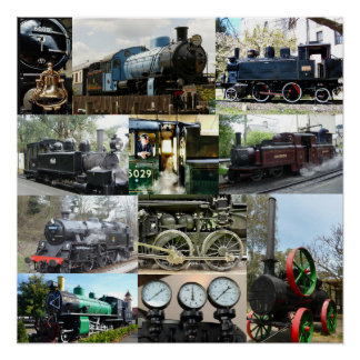 Antique Steam Engine Locomotive Train Collage Poster