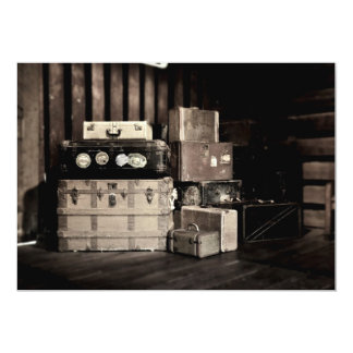 Antique Steamer Travel Trunks & Suitcases 13 Cm X 18 Cm Invitation Card