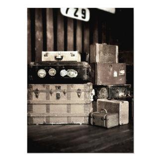 Antique Steamer Travel Trunks & Suitcases 14 Cm X 19 Cm Invitation Card