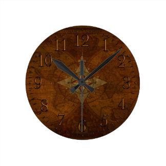 Antique Steampunk Compass Rose & Old World Map Clocks