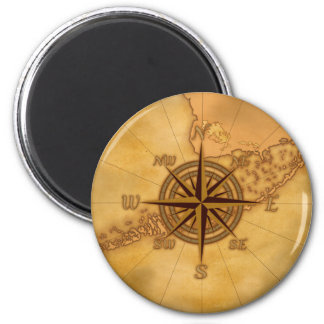 Antique Style Compass Rose 6 Cm Round Magnet