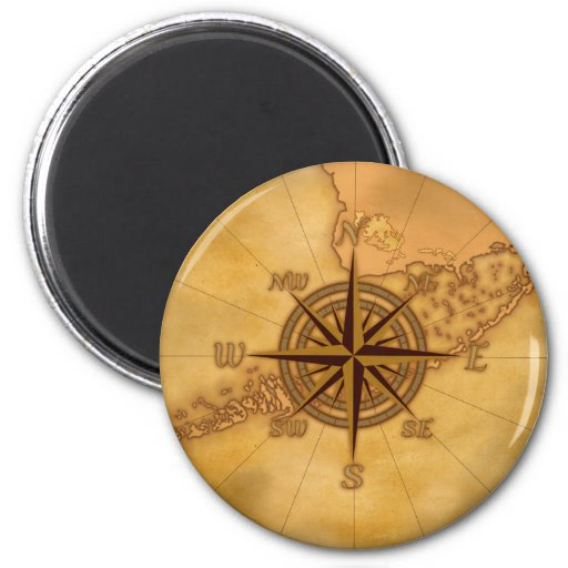 Antique Style Compass Rose Refrigerator Magnet