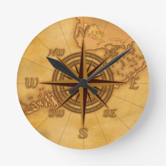 Antique Style Compass Rose Wall Clocks