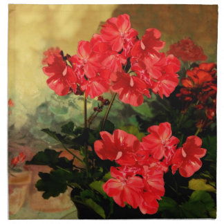 Antique Style Red Geranium Flowers  Gifts Napkins
