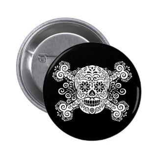 Antique Sugar Skull & Crossbones 6 Cm Round Badge