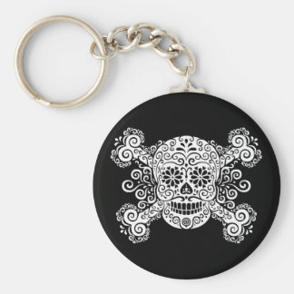 Antique Sugar Skull & Crossbones Basic Round Button Key Ring