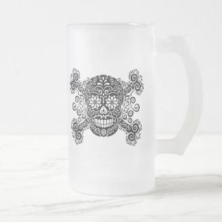 Antique Sugar Skull & Crossbones Frosted Glass Mug