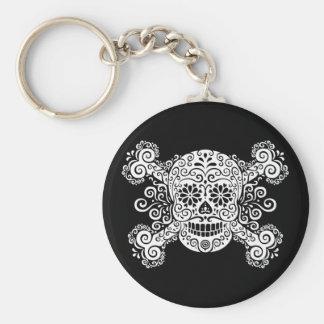 Antique Sugar Skull & Crossbones Key Chains