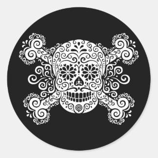 Antique Sugar Skull & Crossbones Round Sticker
