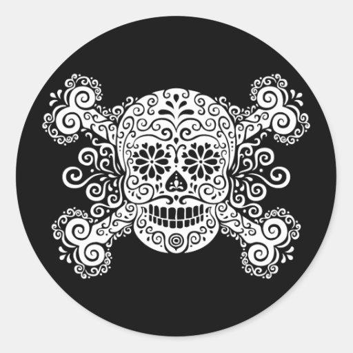 Antique Sugar Skull & Crossbones Round Stickers