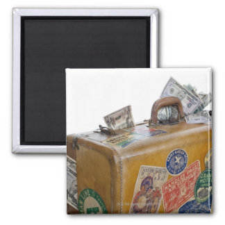 Antique suitcase with protruding money square magnet