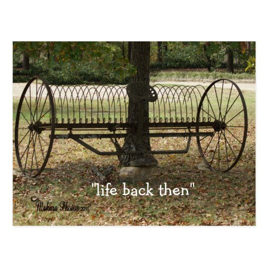 antique sulky hay rake postcard 2- customise