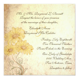 Antique Sunflowers Reproduction Wedding Invitation