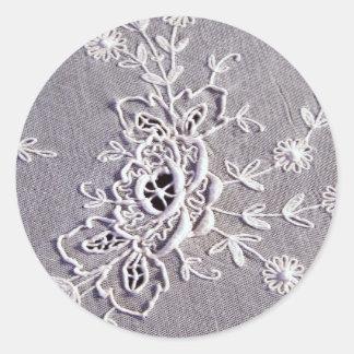 Antique Tambour Lace Classic Round Sticker