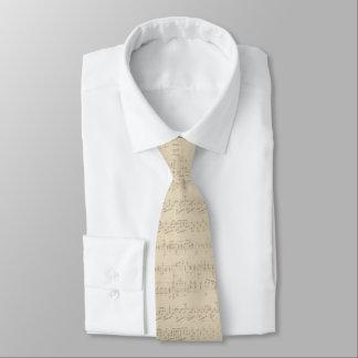 Antique Tan Beige Music Sheet Tie