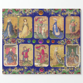 Antique Tarots,German Court Cards,Gold Blue Floral Wrapping Paper