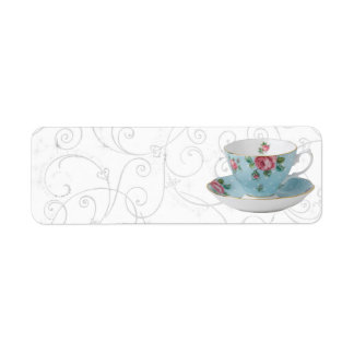 ANTIQUE TEA CUP AND SAUCER ADDRESS LABELS