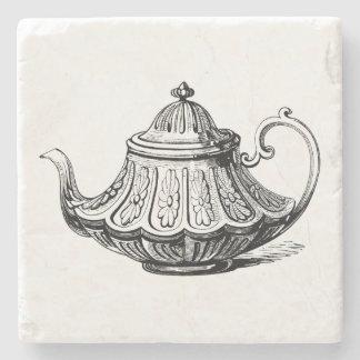 Antique Teapot Illustration Stone Coaster