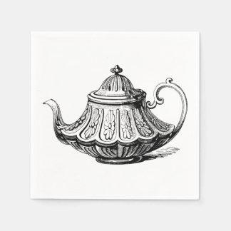 Antique Teapot Illustration Paper Napkin