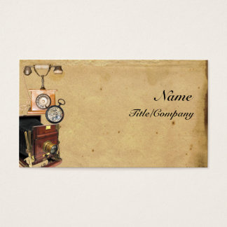 Antique Telephone, Compass, and Camera Business Card