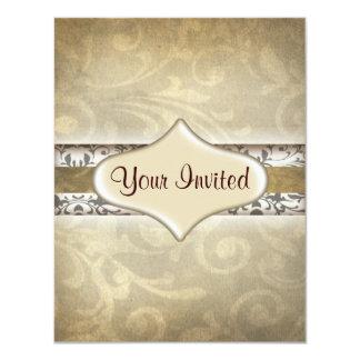 "antique texture invitation 4.25"" x 5.5"" invitation card"