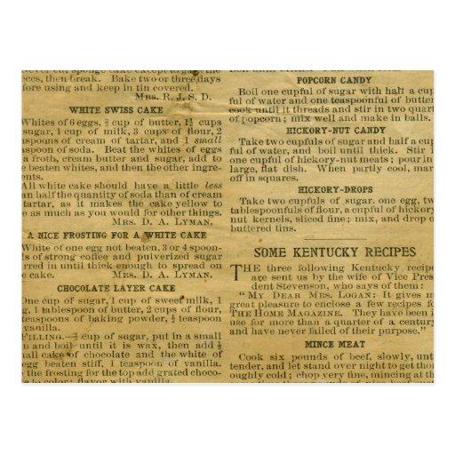 Antique Theme Recipe Card Postcard