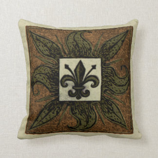 Antique Tiled Fleur de Lis Cushion