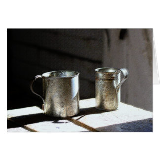 Antique Tin Cups Card