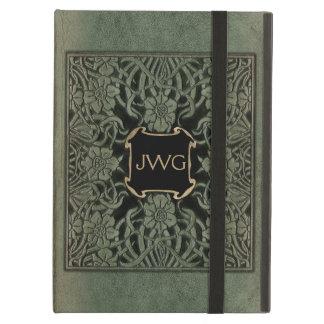 Antique Tooled Leather Monogram Book Cover iPad Air Case
