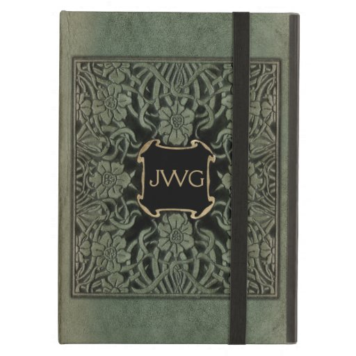 Antique Tooled Leather Monogram Book Cover iPad Air Covers