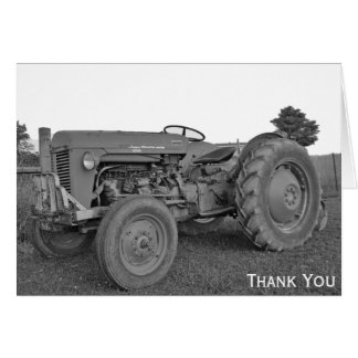 Antique Tractor in Black and White Thank You card