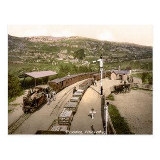 Antique train postcard, Ffestiniog railway station