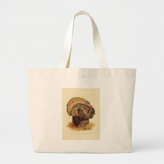 Antique Turkey illustration Thanksgiving Large Tote Bag