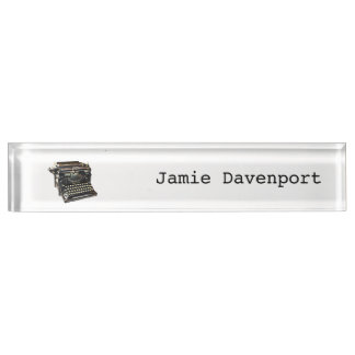 Antique Typewriter Journalist Author Nameplate