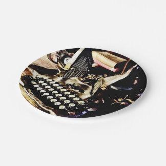 Antique Typewriter Oliver #9 7 Inch Paper Plate