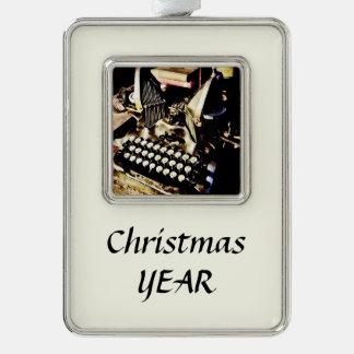 Antique Typewriter Oliver #9 Silver Plated Framed Ornament