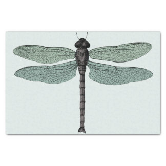 antique typographic vintage dragonfly tissue paper