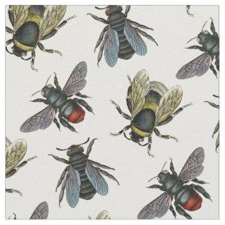 Antique Typographic Vintage Honey Bee Fabric