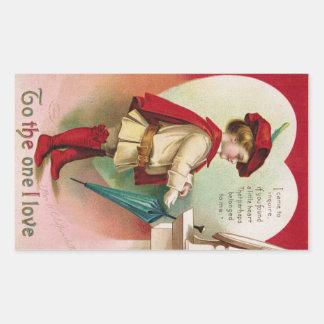 "Antique Valentine ""To the one I love"" Rectangular Sticker"