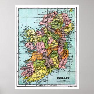 Antique Victorian Era Map of Ireland Poster