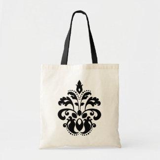Antique victorian lolita damask motif budget tote bag