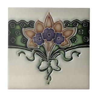 Antique Victorian Violet Bouquet Border Tile Repro
