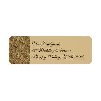 Antique Victorian Warm Autumn Leaves Wedding Return Address Label