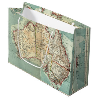 Antique Vintage Australian continent detailed map Large Gift Bag