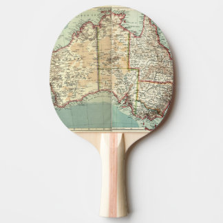 Antique Vintage Australian continent detailed map Ping Pong Paddle