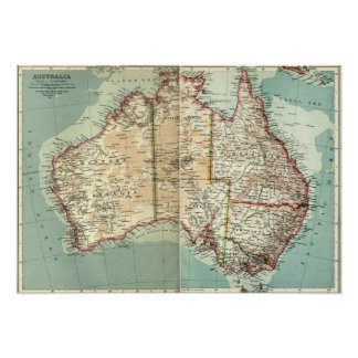 Antique Vintage Australian continent detailed map Poster