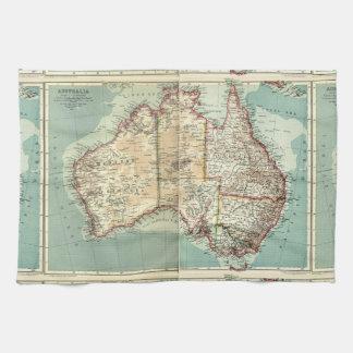 Antique Vintage Australian continent detailed map Tea Towel