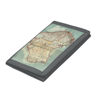 Antique Vintage Australian continent detailed map Trifold Wallets